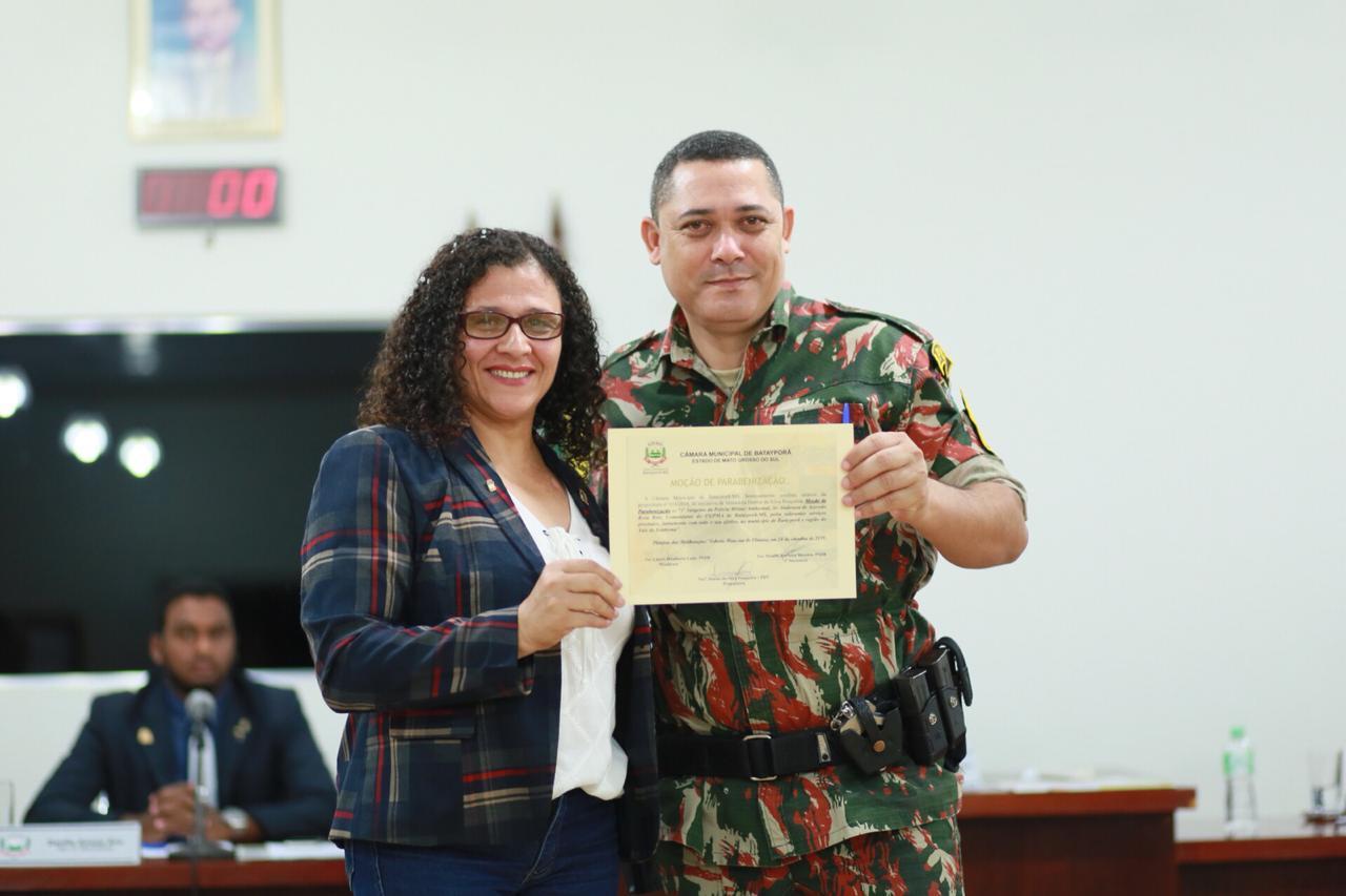 Comandante da Polícia Ambiental de Batayporã Anderson de Azevedo é homenageado da Câmara de Vereadores